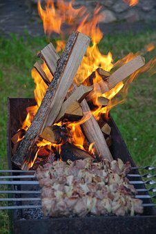 Fire, Mangal, Shish Kebab, On The Nature, Coals, Burns