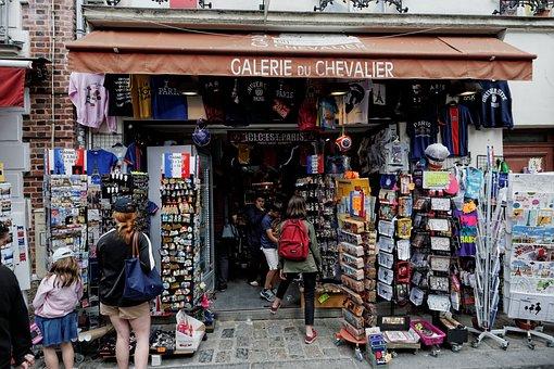 Tourists, Shop, Notre-dame, Montmartre, Paris, France