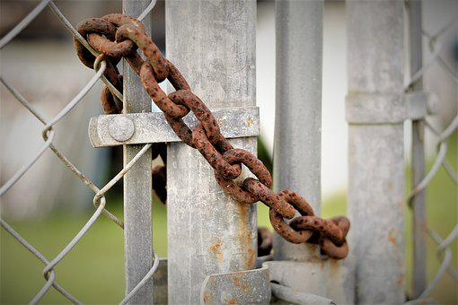 Padlock, Gate, Close, Lock, Metal, Protection, Security