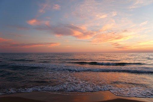 Sea, Wave, Beach, Sunset, Clouds, Sun, Sky, Low Tide