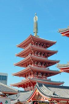 Pagoda, Senso-ji, Temple, Asakusa, Tokyo, Japan