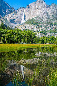 Yosemite, Waterfall, Park, California, National, Nature