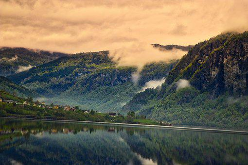 Norway, Mountains, View, Nature, Landscape, Clouds, Sea