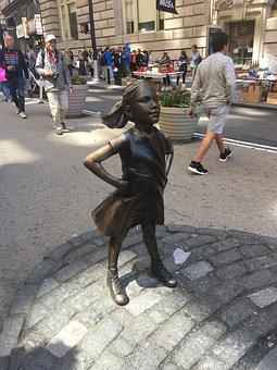 Sculpture, Statue, Art, Girl, Defiant, Courageous