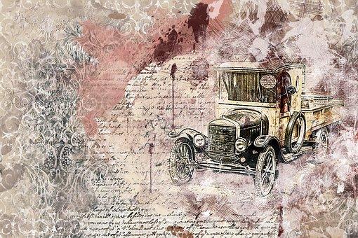 Car, Old Car, Art, Abstract, Artistic, Watercolor