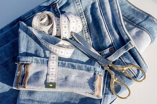 Jeans, Tape Measure, Fabric Scissors, Pins, Change