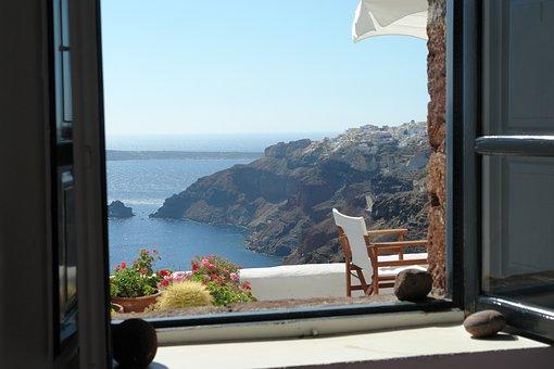 Santorini, Window, View, Architecture, Greece, Greek