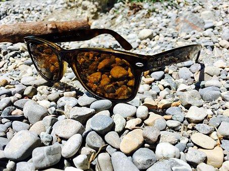 Lake Constance, Pebble, Stones, Glasses, Rayban, Brown