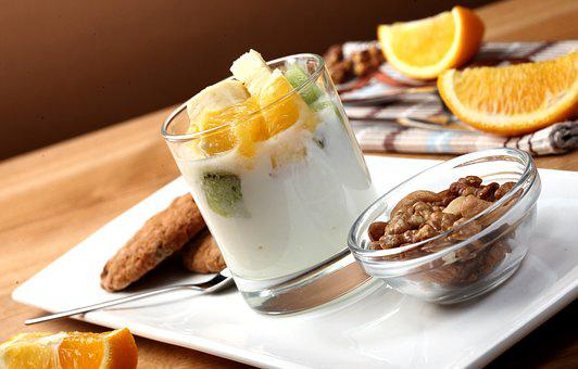 Yogurt, Nuts, Breakfast, Plate, Healthy Food, Useful
