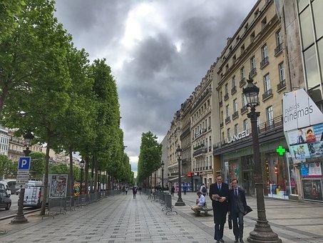 Champs èlysées, Paris, France, Landmark, Urban, French