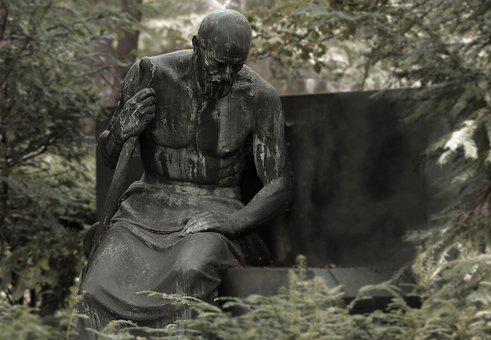 Mourning, Thoughtful, Sculpture, Sad, Figure, Lonely
