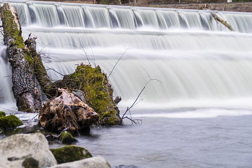 Waterfall, Long Exposure, Bavaria, Amper, Moss, Stones