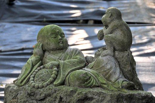 Stone Carving, Novice, Buddhism, Monastery, Monkey