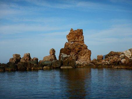 Mourtias, λούμπαρδα, Beach, Greece, Pelion, Sea, Rocks