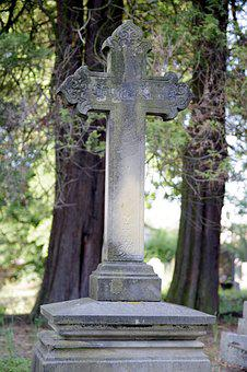 Tombstone, Cross, Cemetery, Old, Tree, Shadow, Stone