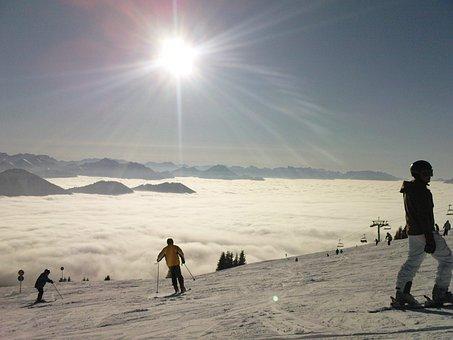 Fog, Skiing, Sun, Dream Day, Ski Run, Snow, Winter