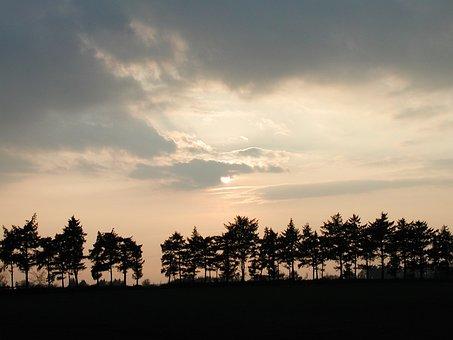 Sunset, Fields, Sunlight, Clouds, Landscape