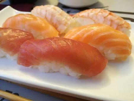 Nigiri, Sushi, Salmon, Tuna, Shrimp, Kitchen, Rice