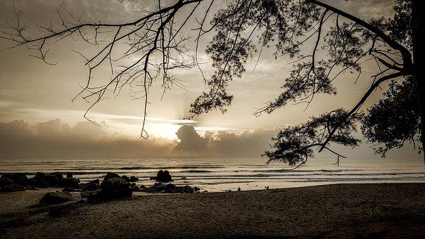 Beach, Teluk, Kuantan, Sky, Blue, Malaysia, Sea, Sunset