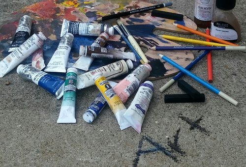 Art, Oil Paint, Charcoal Sticks, Colored Pencils