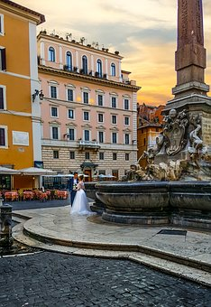Rome, Italy, Wedding, Couple, Roman, Fountain, Piazza