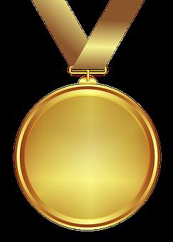 Medal, Gold, Design, Transparent Background, Decoration