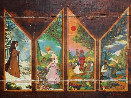 Seasons, Table, Painting, Decoration, Old, Vintage