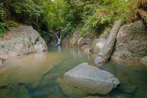 Waterfall, View, Dusk, Asia, Landmark, Twilight, Travel