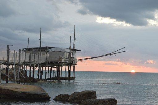 Overflow, Sea, Abruzzo, Trabocchi, Networks, Fishing