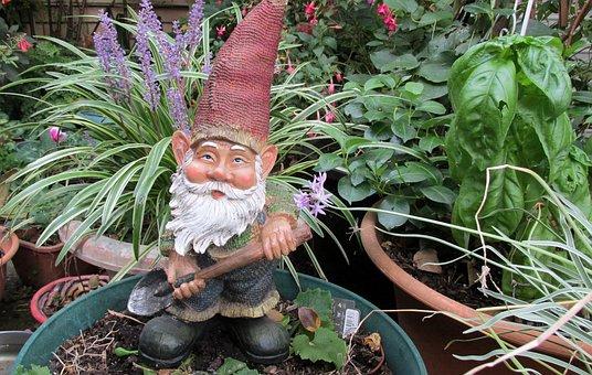 Garden, Gnome, Digging