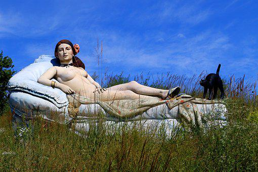 Statue, Sculpture, New Jersey, Nude, Couch, Cat
