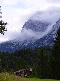 Alpine, Alps, Mountains, Refuge, Shelter, Clouds