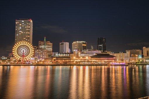 Kobe, Japan, Port, Tower, City, Osaka, Night, Skyline