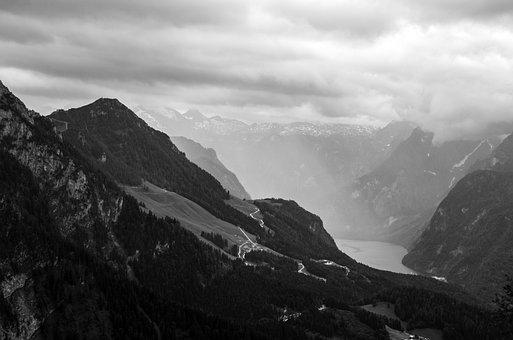 Königssee, Berchtesgadener Land, Black White, Alpine