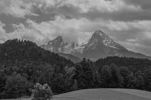 Watzmann, Berchtesgadener Land, Black White, Alpine