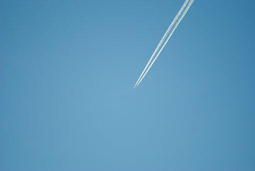 Contrail, Aircraft, Sky, Blue, Fly, Partly Cloudy