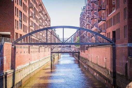 Speicherstadt, Bridge, Hamburg, Architecture