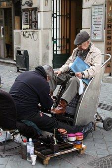 Shoeshine Boy, Old Man, Santiago, Chile