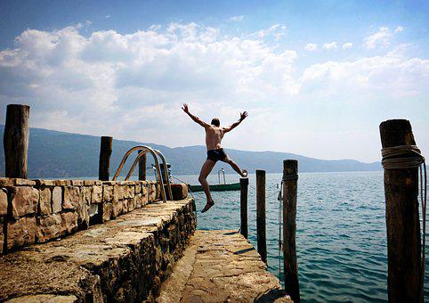 Sea, Summer, Vacations, Italy, Garda, Jump