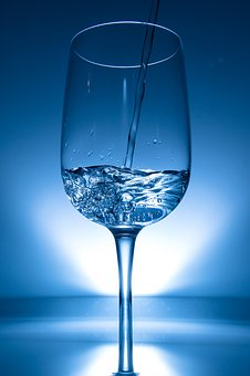 Wine Glass, Water, Liquid, Clear, Highspeed Photography