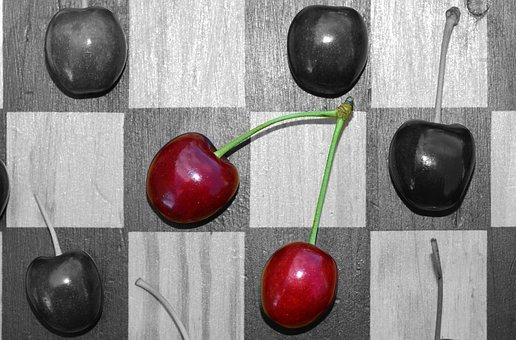 Cherries, Chess Board, Checkerboard, Red, Red Cherries