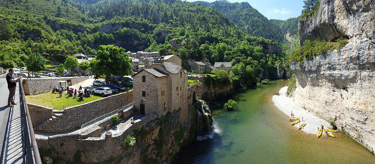 Village, River, Throat, Tarn, France, Old Village