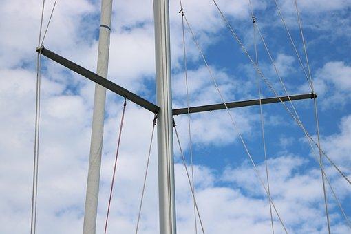 Mast, Sky, Blue, Cloud, Rope, If