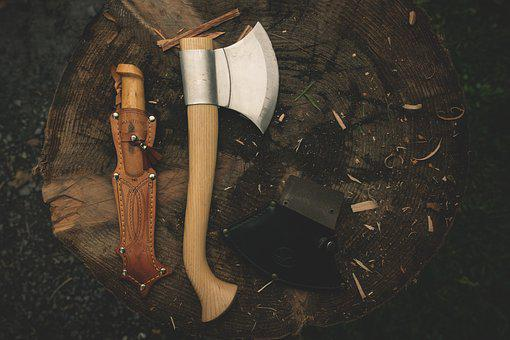 Axe, Ax, Log, Knife, Camping, Equipment, Tool