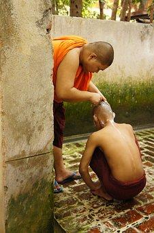 Shaving, Monk, Help, Myanmar, Body Care