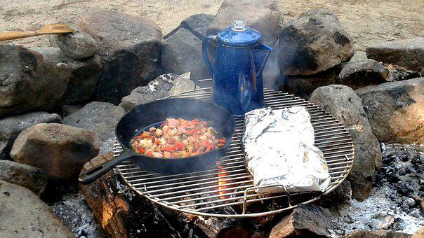 Camping, Breakfast, Coffee, Fire, Camp