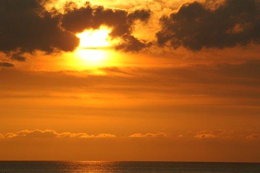Sunset, Twilight, Seascape, Evening, Seaside, Clouds
