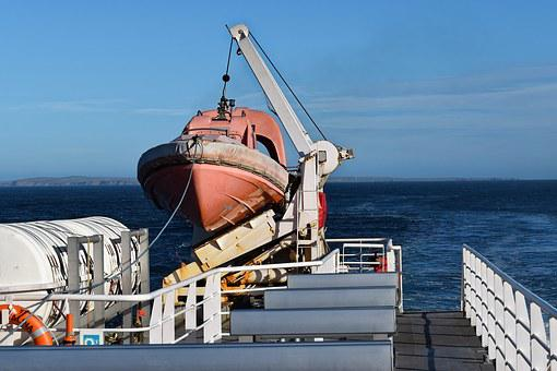 Lifeboat, Ferry, Sea, Ship, Boat, Transportation, Deck