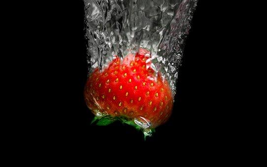 Strawberry, Dive, Water, Bubbles, Black, Fruit, Fresh