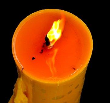 Candle, Wick, Dark, Black, Flame, Lit, Wax, Burning